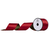 """Moss Green & Red Reversible Wired Edge Ribbon - 2 1/2"""""""
