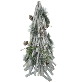 Whitewashed Twig Tree With Pinecones