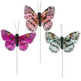 Pink & Green Feather Butterflies