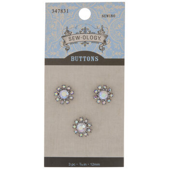 Crystal AB Rhinestone Flower Shank Buttons - 12mm