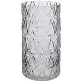 Gray Chevron Embossed Glass Vase