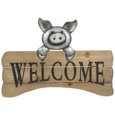 Welcome Pig Metal Wall Decor