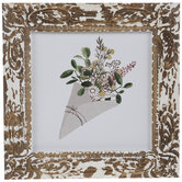 Carved Frame Floral Wood Wall Decor