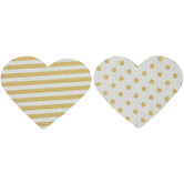 Gold Striped & Polka Dot Canvas Hearts