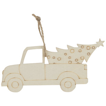Truck With Tree Wood Ornaments