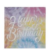 Happy Birthday Tie Dye Napkins - Large