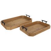 Brown & Black Wood Tray Set
