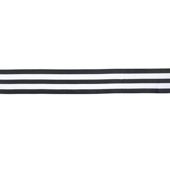 "Black & White Striped Wired Edge Grosgrain Ribbon - 2"""