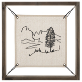 Tree & Mountains Embroidered Wood Wall Decor