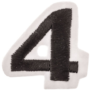 """Black Embroidered Iron-On Number 4 - 1 1/2"""""""