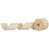 "Peach & Green Polka Dot Wired Edge Ribbon - 2 1/2"""