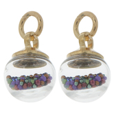 Round Glass Drops With Micro Beads Charms