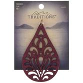 Red Filigree Teardrop Wood Pendant