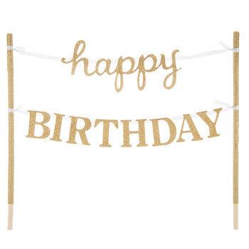 Gold Glitter Happy Birthday Cake Banner