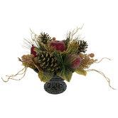 Pine & Fruit Arrangement In Pedestal Pot