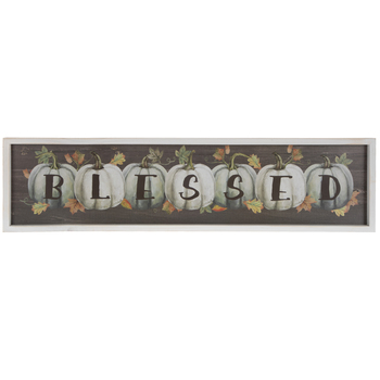 Green & White Blessed Pumpkins Wood Wall Decor