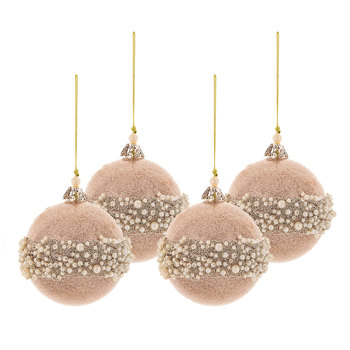 Rose Gold Pearl Wrapped Ball Ornaments