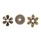 Antique Metal Flower Brads - Large