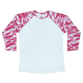 Pink Camo Sleeve Adult Baseball T-Shirt - Large