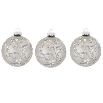 Gray With White Glitter Flowers Ball Ornaments