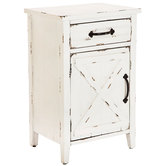 Distressed White Barn Door Cabinet