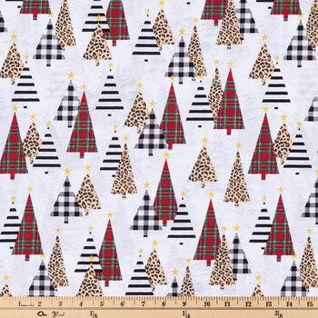 Leopard Print Christmas Trees Cotton Fabric