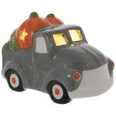 Light Up Truck With Pumpkins