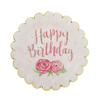 Floral Happy Birthday Paper Plates - Small