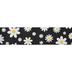 Black Daisy Burlap Wired Edge Ribbon - 2 1/2