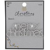 Merry Christmas Rhinestone Brooch