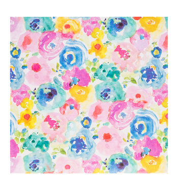 "Watercolor Floral Scrapbook Paper - 12"" x 12"""