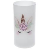 White Unicorn Face LED Pillar Candle