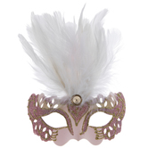 White Feathered Masquerade Mask Ornament