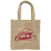 Merry Christmas Burlap Bag Gift Card Holder