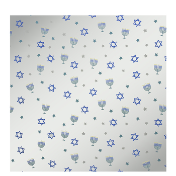 Silver Star Of David & Menorah Foil Gift Wrap