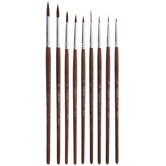 Brown Nylon Paint Brushes - 9 Piece Set