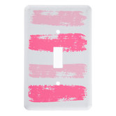 Pink Brushstroke Metal Single Switch Plate