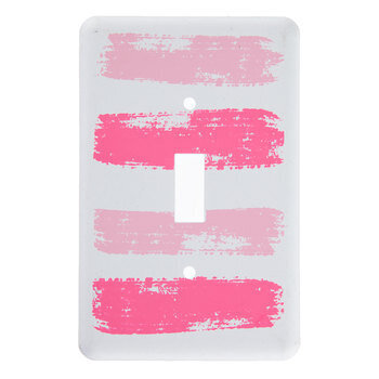 Pink Brushstroke Metal Single Switch Plate