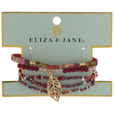 Red Beaded Bracelets With Leaf Focal