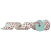 """White & Pink Rose Burlap Wired Edge Ribbon - 2 1/2"""""""