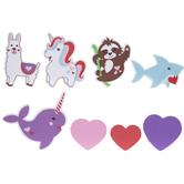 Valentine Animals & Hearts Foam Stickers