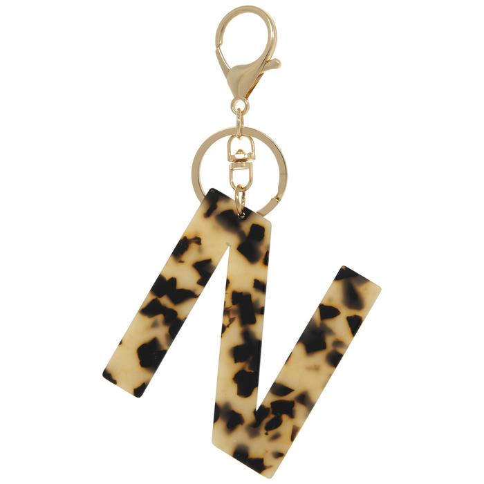 Leopard Glitter Resin Alphabet Keychain WITH POM POM Keychain glitter keychain Letter initial keychain