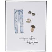 Caffeine & Ripped Jeans Wood Wall Decor
