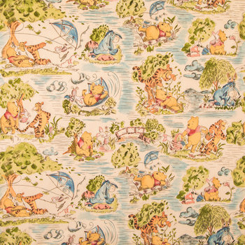 Winnie The Pooh Toile Cotton Calico Fabric