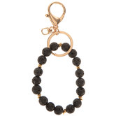 Lava Bead Bracelet Keychain