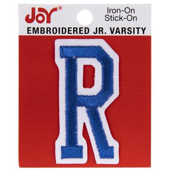 "Blue Junior Varsity Letter Iron-On Applique R - 2"""