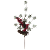 Pinecone & Red Berry Flocked Pine Branch Pick