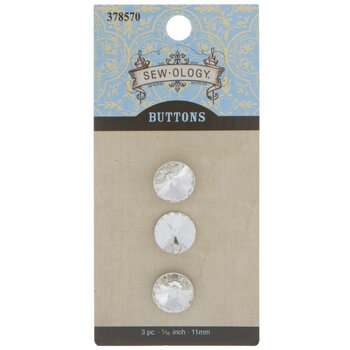 Clear Faceted Glass Shank Buttons - 11mm
