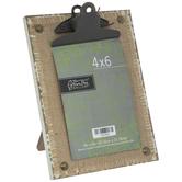 "Burlap & Distressed Wood Clip Frame - 4"" x 6"""