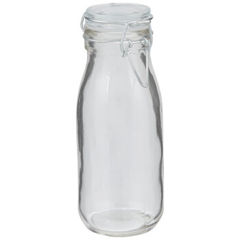 Hinged Clasp Glass Milk Bottle